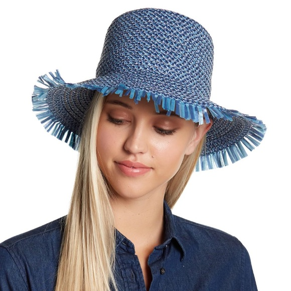 c4a14b1b1580e Eric Javits Tiki Blue Fringe Bucket Hat